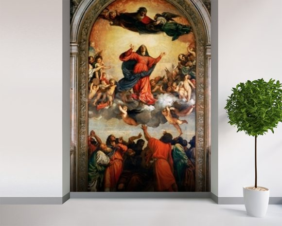 The Assumption of the Virgin, 1516-18 (oil on canvas) wall mural room setting