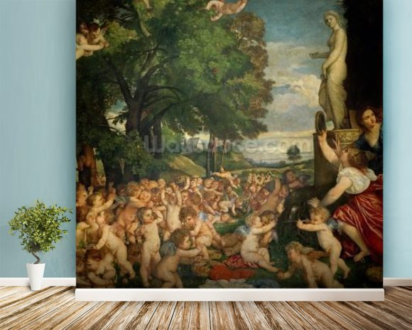 The Worship of Venus, 1519 (oil on canvas) mural wallpaper room setting