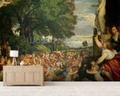 The Worship of Venus, 1519 (oil on canvas) mural wallpaper living room preview