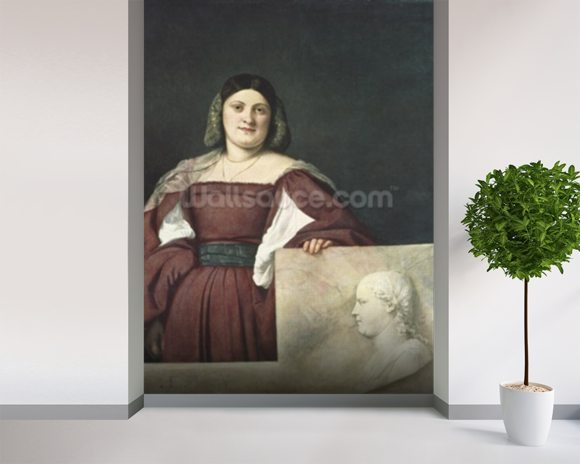 Portrait of a Lady (La Schiavona), c.1510-12 (oil on canvas) wallpaper mural room setting