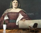 Portrait of a Lady (La Schiavona), c.1510-12 (oil on canvas) wallpaper mural kitchen preview