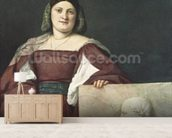 Portrait of a Lady (La Schiavona), c.1510-12 (oil on canvas) wallpaper mural living room preview