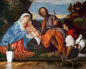 The Holy Family and a Shepherd, c.1510 (oil on canvas) wall mural kitchen preview