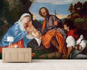 The Holy Family and a Shepherd, c.1510 (oil on canvas) wall mural living room preview