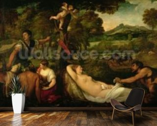 Pardo Venus or Jupiter and Antiope (oil on canvas) mural wallpaper