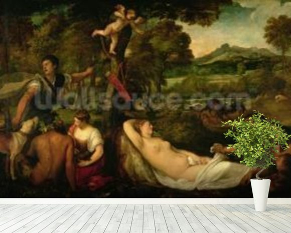 Pardo Venus or Jupiter and Antiope (oil on canvas) mural wallpaper room setting