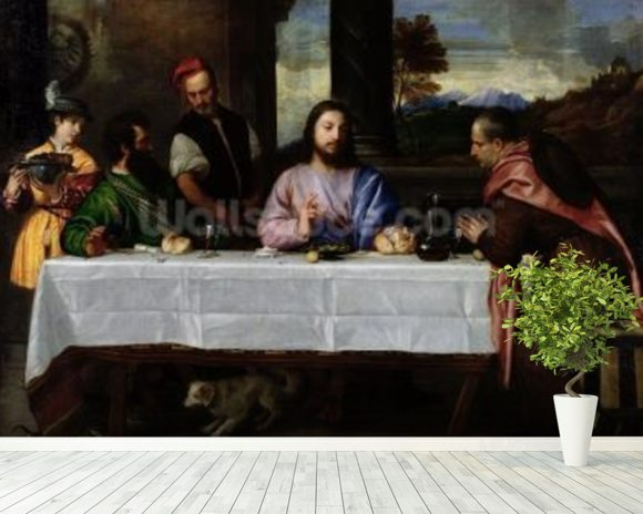 The Supper at Emmaus, c.1535 (oil on canvas) mural wallpaper room setting