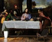 The Supper at Emmaus, c.1535 (oil on canvas) mural wallpaper kitchen preview