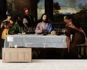 The Supper at Emmaus, c.1535 (oil on canvas) mural wallpaper living room preview