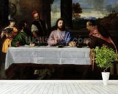 The Supper at Emmaus, c.1535 (oil on canvas) mural wallpaper in-room view