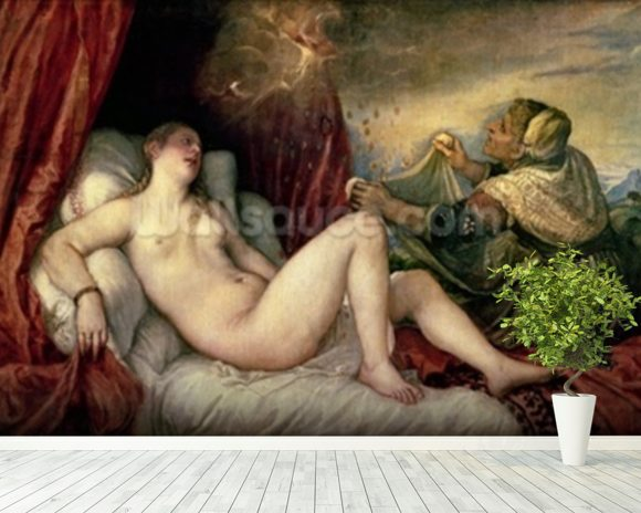 Danae, c.1554 (oil on canvas) wallpaper mural room setting