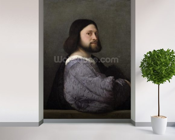 Portrait of a Man, c.1512 (oil on canvas) mural wallpaper room setting
