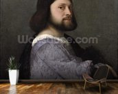 Portrait of a Man, c.1512 (oil on canvas) mural wallpaper kitchen preview