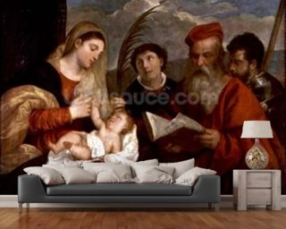 Madonna and Child with SS. Stephen, Jerome and Maurice (oil on canvas) wall mural