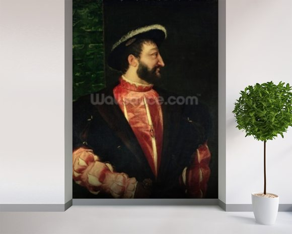 Portrait of Francis I (1494-1547) 1538 (oil on canvas) wallpaper mural room setting