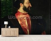Portrait of Francis I (1494-1547) 1538 (oil on canvas) wallpaper mural living room preview