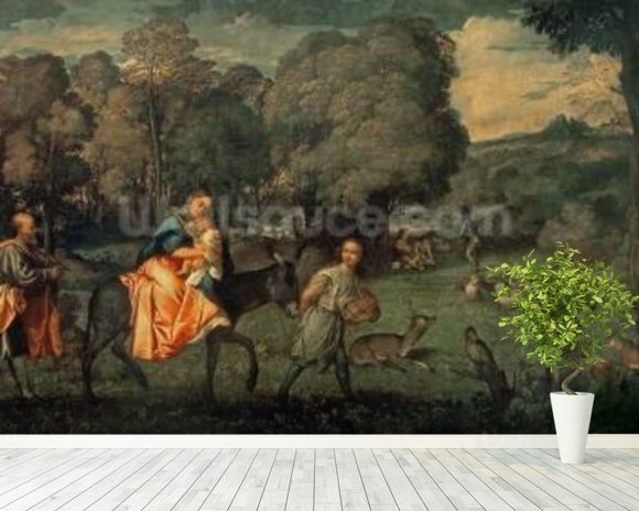 The Flight into Egypt, 1500s (oil on canvas) mural wallpaper room setting