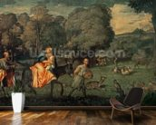 The Flight into Egypt, 1500s (oil on canvas) mural wallpaper kitchen preview