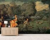 The Flight into Egypt, 1500s (oil on canvas) mural wallpaper living room preview