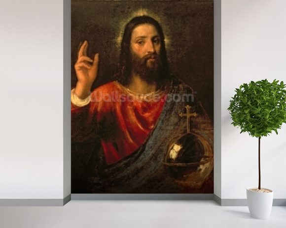 Christ Saviour, c.1570 (oil on canvas) mural wallpaper room setting