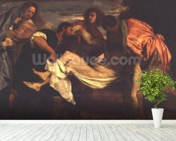 The Entombment of Christ (oil on canvas) wall mural room setting