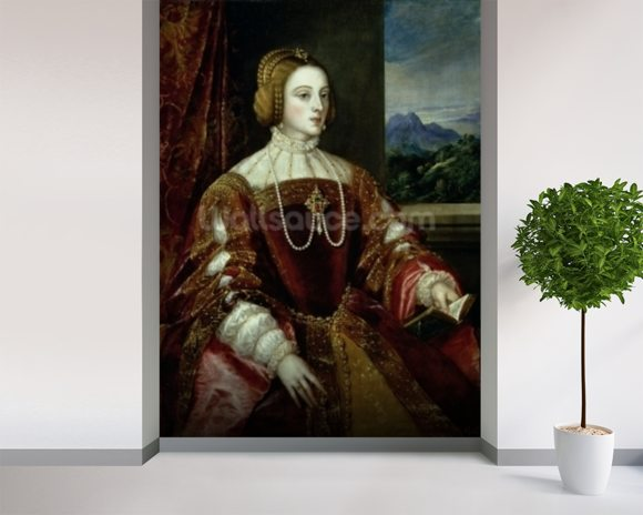 Portrait of the Empress Isabella of Portugal, 1548 wallpaper mural room setting