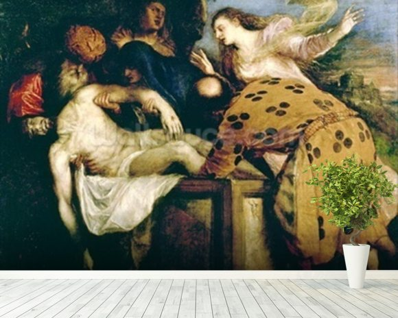 The Entombment of Christ mural wallpaper room setting
