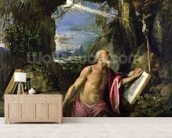 St. Jerome mural wallpaper living room preview