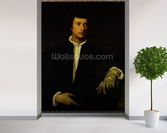 The Man with a Glove, c.1520 (oil on canvas) wall mural room setting