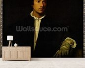The Man with a Glove, c.1520 (oil on canvas) wall mural living room preview