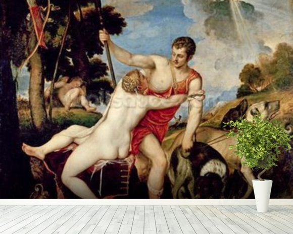 Venus and Adonis, 1553 (oil on canvas) wallpaper mural room setting