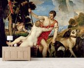 Venus and Adonis, 1553 (oil on canvas) wallpaper mural living room preview