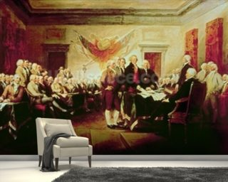 Signing the Declaration of Independence, July 4th, 1776 (oil on canvas) mural wallpaper