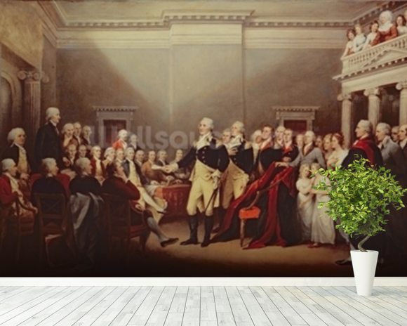 The Resignation of George Washington on 23rd December 1783, c.1822 (oil on canvas) wallpaper mural room setting