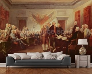 Signing the Declaration of Independence, 4th July 1776, c.1817 (oil on canvas) mural wallpaper