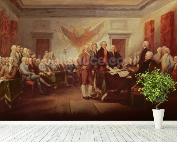 Signing the Declaration of Independence, 4th July 1776, c.1817 (oil on canvas) mural wallpaper room setting