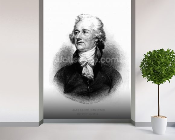 Alexander Hamilton, engraved by Albert Rosenthal, 1888 (engraving) wallpaper mural room setting