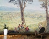 Rome from Monte Mario, c.1818 (w/c over pencil on paper) mural wallpaper kitchen preview