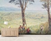 Rome from Monte Mario, c.1818 (w/c over pencil on paper) mural wallpaper living room preview