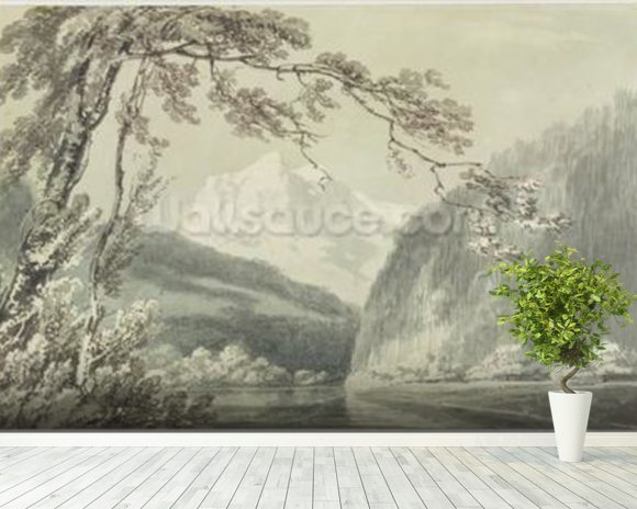 Near Grindelwald, c.1796 (blue & grey wash over graphite on paper) mural wallpaper room setting