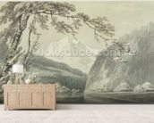 Near Grindelwald, c.1796 (blue & grey wash over graphite on paper) mural wallpaper living room preview