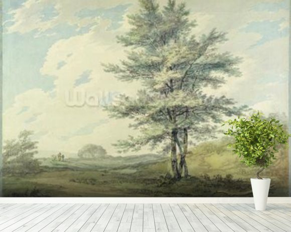 Landscape with Trees and Figures, c.1796 (w/c over graphite on paper) wall mural room setting