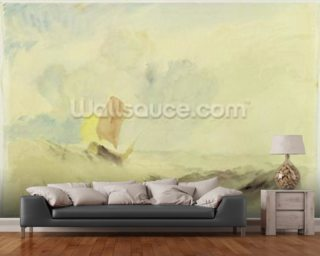 A Sea Piece - A Rough Sea with a Fishing Boat, 1820-30 (w/c on paper) wallpaper mural