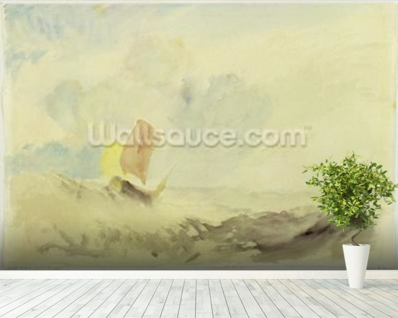 A Sea Piece - A Rough Sea with a Fishing Boat, 1820-30 (w/c on paper) wallpaper mural room setting
