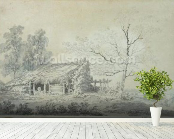 Landscape with Barn, c.1795 (graphite & wash on paper) mural wallpaper room setting