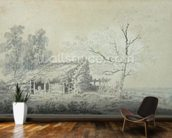 Landscape with Barn, c.1795 (graphite & wash on paper) mural wallpaper kitchen preview