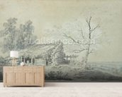 Landscape with Barn, c.1795 (graphite & wash on paper) mural wallpaper living room preview