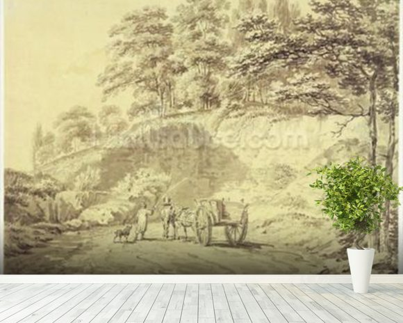 Man with Horse and Cart Entering a Quarry, c.1797 (graphite & grey wash on paper) wallpaper mural room setting