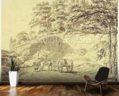 Man with Horse and Cart Entering a Quarry, c.1797 (graphite & grey wash on paper) wallpaper mural kitchen preview