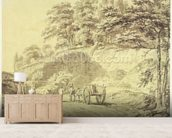 Man with Horse and Cart Entering a Quarry, c.1797 (graphite & grey wash on paper) wallpaper mural living room preview